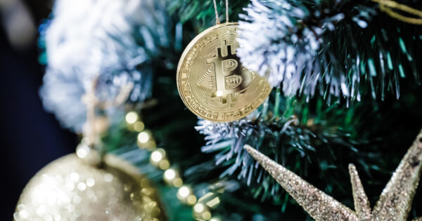 Bitcoin BTC as an ornament on a Christmas tree