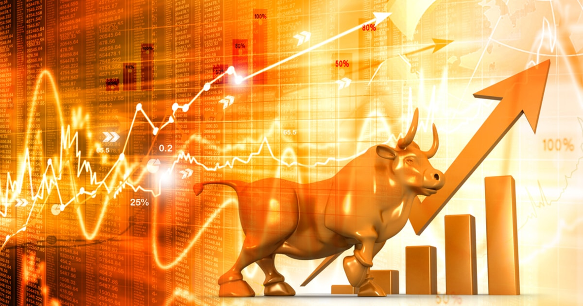 market bull on stock market chart analysis