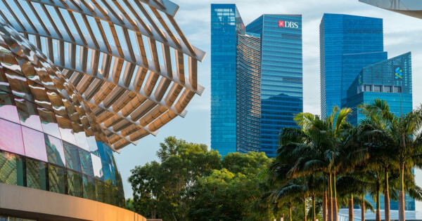 DBS Bank featured in the Marina Bay Financial Center, Singapore