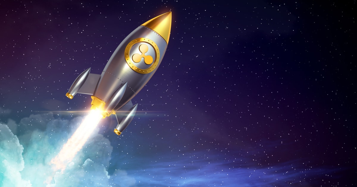 Ripple symbol on a rocket signifying its price surge