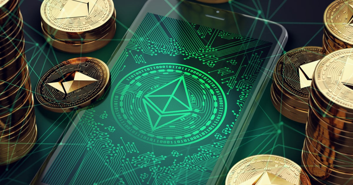 Ethereum illustrated on smartphone for trading and investing
