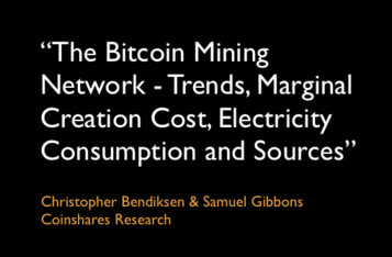 """""""The Bitcoin Mining Network – Trends, Marginal Creation Cost, Electricity Consumption and Sources"""""""
